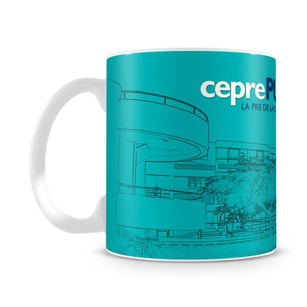 Taza personalizada Ceprepuc azul 25 años vista izquierda